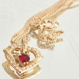 Gold Plate Heart Crystal Necklace Pendant Ruby